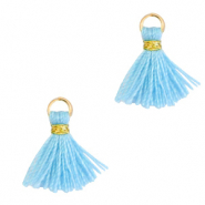 Perlen Quaste 1cm Gold-light blue