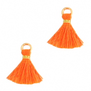 Perlen Quaste 1cm Gold-neon orange