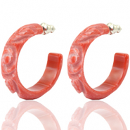 Ohrringe Creolen Polaris Elements flower cut 30mm Coral red