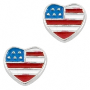 Floating Charms Herz USA Antik silber-blau rot weiss