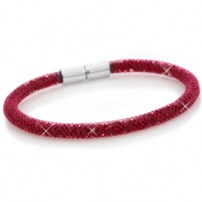 Armbänder single mit Kristall Facett Velvet red - siam