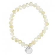 Facett Glas Armbänder Sisa 8x6mm (Anhänger RVS) White alabaster-light gold diamond coating