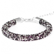Crystal diamond Armbänder 8 mm Dark amethyst-anthracite