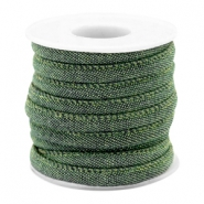 Trendy gesteppte Kordel Denim 6x4mm Dark green
