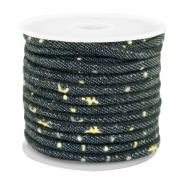 Trendy gesteppte Kordel Denim 4x3mm Indigo night blue-gold