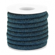 Trendy gesteppte Kordel Denim 6x4mm Dark royal blue
