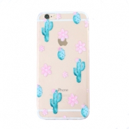 Telefon Hüllen für iPhone 6 Cactus & Flowers Transparent-blue pink