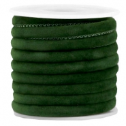 Trendy gesteppte Velvet Kordel 6x4mm Dark green