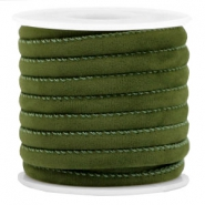 Trendy gesteppte Velvet Kordel 6x4mm Army green