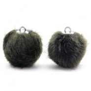 Pompom Anhänger faux fur 16mm Dark olive green
