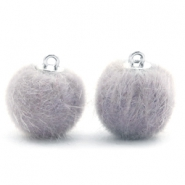 Pompom Anhänger faux fur 16mm Light grey