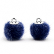 Pompom Anhänger faux fur 12mm Dark blue