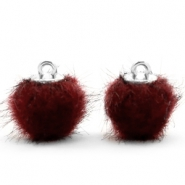 Pompom Anhänger faux fur 12mm Port red