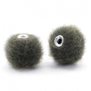 Pompom Perlen faux fur 12mm Sage green