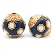 Bohemian Perlen 14mm Dark blue-gold