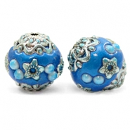 Bohemian Perlen 16mm Olympic blue-silver