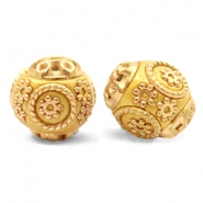 Bohemian Perlen 14mm Mustard yellow-gold