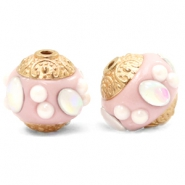 Bohemian Perlen 14mm Champagne pink-gold