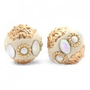 Bohemian Perlen 16mm Beige-diamond coated white gold